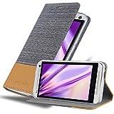 Cadorabo Funda Libro para HTC One M7 en Gris Claro MARRÓN - Cubierta Proteccíon con Cierre Magnético, Tarjetero y Función de Suporte - Etui Case Cover Carcasa