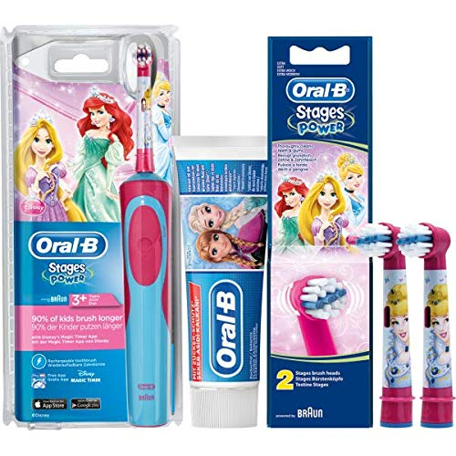 Oral-B Spar-Set: 1 Braun Stages Power Kids 900 TX elektrische Akku-Zahnbuerste Kinder 3+ J. D12.513.K Disney Princess + 2er Stages Aufsteckbürsten + 75 ml PRO-EXPERT Stages Kinderzahncreme Prinzessin