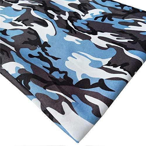 ZAIONE Camouflage Militär Armee bedruckter Stoff von The Yard Breite 147,2 cm (91 x 147,2 cm) Drucke Camo Stoff Nähen Patchwork DIY Handwerk 58 Inches hellblau