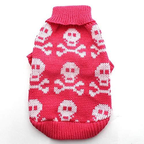 LIUCHANG Suéter para perros y gatos, con calaveras, para cachorros, abrigos, abrigos, para perros y gatos, tamaño pequeño y mediano (color: rosa intenso, talla: XXL) liuchang20