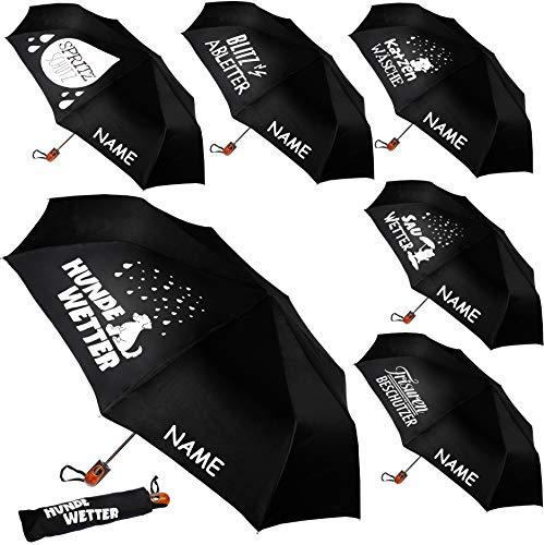 alles-meine.de GmbH 2 Stück _ Taschenschirme - AUTOMATIK -  lustige Sprüche  - schwarz - inkl. Name - ø 100 cm - große Regenschirme / Kinderschirme / Erwachsenenschirme - Autom..