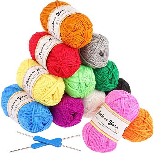 Gomitoli di Lana 600g (12x50g) Fuyit Filato Lana Filati Lana Acrylico 100% per uncinetto e lavori a maglia(12 Colori)