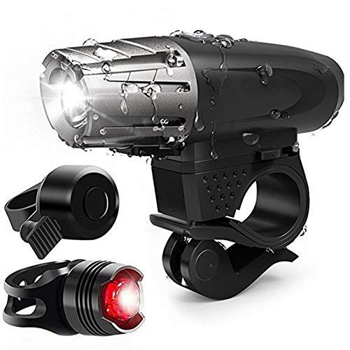 Juego de Luces de Bicicleta Recargables por USB, funcionando Durante más de 8 Horas Luz Delantera y luz Trasera LED, Adecuado para Todas Las Bicicletas, montañas y carreterasBicycle Light