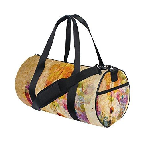 TIZORAX Watercolor Yin Yang Symbol Alte Papier Fitnessraum Duffle Bag Drum Tote Reisetasche Rooftop Rack Tasche
