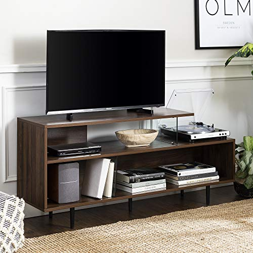 """Walker Edison Asymmetrical Wood and Glass Universal Stand with Open Shelves Cabinet Doors TV's up to 64"""" Flat Screen Living Room Storage Entertainment Center, 60 Inch, Dark Walnut"""