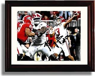 Framed Alabama Quarterback Tua Tagovailoa - The Throw Autograph Replica Print