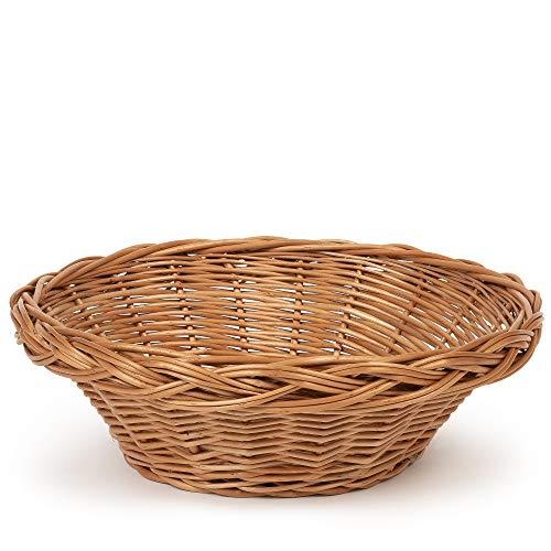TYSK Design Brotkorb groß (Größe und Form wählbar) 30 cm Durchmesser - Brotkörbchen, Korb geflochten aus Weide, Weidenkorb, Weidenkörbchen