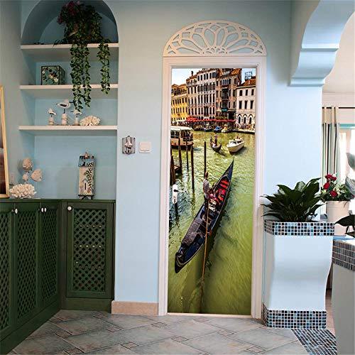 DFKJ Pegatinas de Puerta de Plantas Verdes, Papel Tapiz Autoadhesivo Impermeable, calcomanías murales de Bricolaje extraíbles para decoración del hogar, póster A16 77x200cm