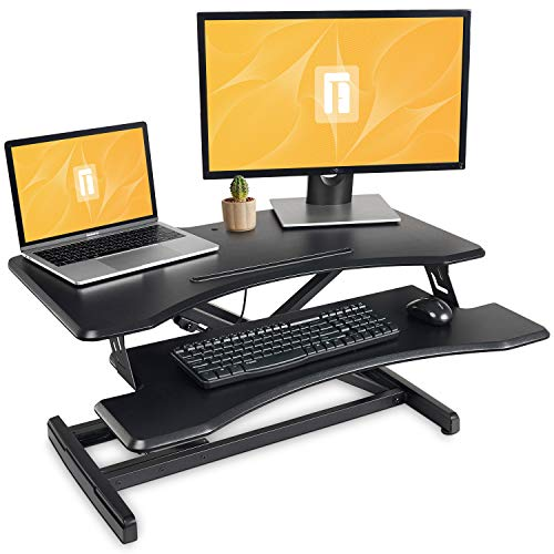 Standing Desk with Height Adjustable – FEZIBO Stand Up Desk Converter, 33 inches Black Ergonomic Tabletop Workstation Riser Fits Dual Monitors