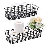 Vitviti Toilet Paper Storage with Handle, Toilet Tissue Holder, Metal Wire Storage Organizer Bins Basket, for Bathroom/Wall Mounted, Set of 2, Black