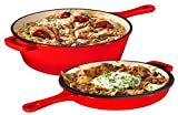 Enameled Red 2-In-1 Cast Iron Multi-Cooker By Bruntmor – Heavy Duty 3 Quart Deep Skillet and Lid Set, Versatile Healthy Design, Non-Stick Kitchen Cookware, Use As Dutch Oven Frying Pan