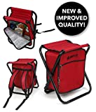GigaTent Folding 3 in 1 Stool Backpack Folding Stool with Cooler Bag - Camping Hunting Fishing Multifunction Collapsible Camping Seat and Insulated Ice Bag with Padded Shoulder Straps (Red)'