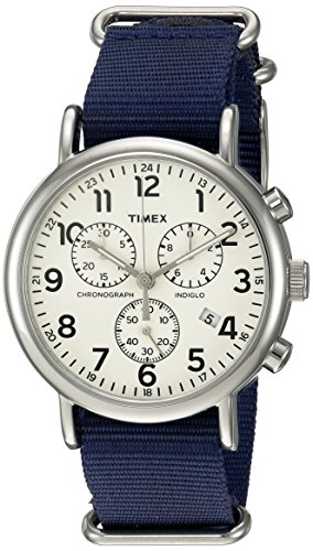 Timex Unisex TWC063800 Weekender Chrono Cream/Blue Double-Layered Nylon Slip-Thru Strap Watch