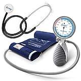 AIESI Sphygmomanomètre Tensiomètre Manuel Professionnel Anéroïde palmaire pour les adultes avec stéthoscope DOCTOR ANEROID # Mesureur de pression de bras # Poignée Réglable # Garantie 24 mois