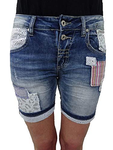 Place du Jour Denim Krempel Baggy Boyfriend Damen Stretch Shorts Flicken Patches Patch Denim XS-34