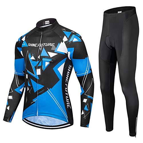 shine future Herren Radtrikot Set Herren Fahrradbekleidung Set Fahrradbekleidung Fahrrad Trikot mit Sitzpolster Atmungsaktiv Schnelltrocknend für Radsport (Langarm-Radtrikot-Set, Medium)