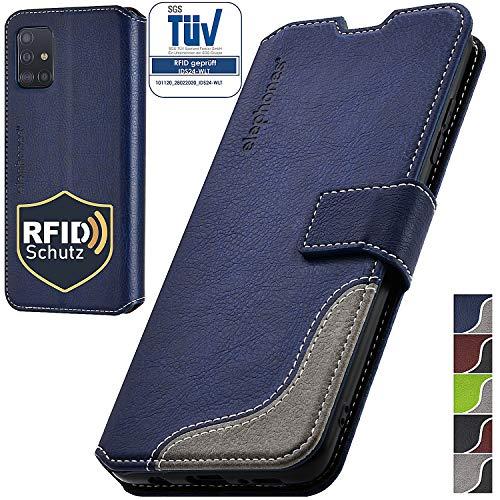 elephones Handyhülle für Samsung Galaxy A51 Hülle PU Leder - Kompatibel mit Samsung Galaxy A51 Schutzhülle Handytasche Handy-Hülle Flip-Case Blau