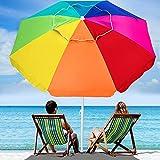 AMMSUN 6.5 Foot Heavy Duty High Wind Beach Umbrella with air vent & Tilt Sun Shelter, UV 50+ Protection Outdoor Sunshade Umbrella with Carry Bag for Patio Garden Beach Pool Backyard, Rainbow