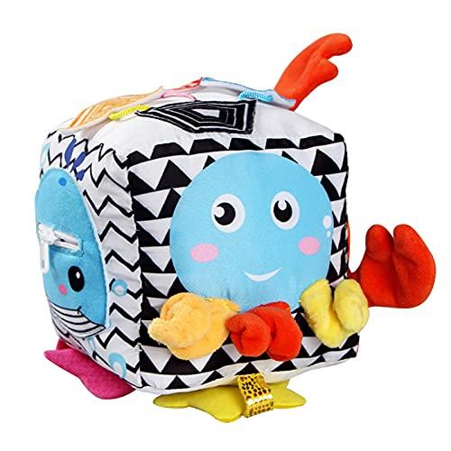 juguete de aprendizaje de actividad cúbica, juguete de desarrollo cúbico de felpa para niños pequeños,cubo de juego suave para bebés con sonajero, juguetes educativos de aprendizaje para bebés y niñas
