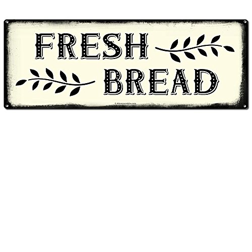 Fresh Bread, 6 x 16 Inch Metal Farmhouse Sign, Rustic Vintage Wall Decor for Home, Restaurant, Cafe, Diner, Coffee Shop, Bakery, Farm Theme Gifts for Farmers, Ranchers, Housewarming, RK3016 6x16