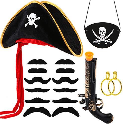 Gejoy Kostüm Piraten Set 17 Stücke Piraten Kapitän Kostüm Sets, Filz Piraten Kapitän Kostüm Sets für Halloween und Piraten Party (Stil A)