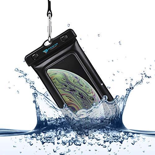 Power Theory Funda Impermeable Móvil - Bolsa Estanca Flotante (Certificada IPX8) - 16 cm - iPhone XS MAX,XR,X,7,8,6 Plus, Samsung Galaxy S10 Plus, S9, Edge, S8, S5, HTC, Huawei y Otros (Negro)