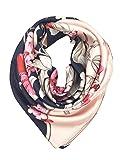 YOUR SMILE Silk Feeling Scarf Women's Fashion Pattern Pink Black Flower Large Square Satin Headscarf (307)