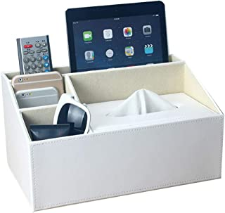 UnionBasic Multifunctional PU Leather Office Desk Organizer Pad Notebook File Box Holder Storage Organizer Tissue Box (White - New)