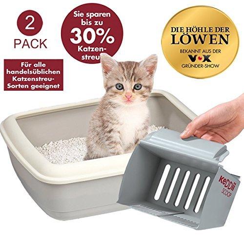 KeDDii Scoop 03859 XL Katzenstreuschaufel | Streuschaufel Siebgröße Anpassbar (Katzentoilette/Katzenklo) | Bis Zu 10x Mehr Volumen Als Übliche Kotschaufeln | 2er Set