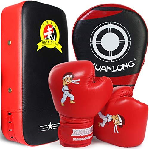 Boxset für Kinder 3 in 1 mit Lochmatte Boxhandschuhen PU Handmatte Sandsack Boxen Taekwondo Boxtraining Kampfsportmatte Muay Thai Boxmatte