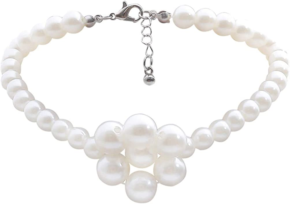 Holibanna Pearl Necklace Flower Pendant Necklaces Pearl Chocker Clavicle Necklaces Tassel Necklaces Jewelry Accessory for Women Brides Proms Pageants