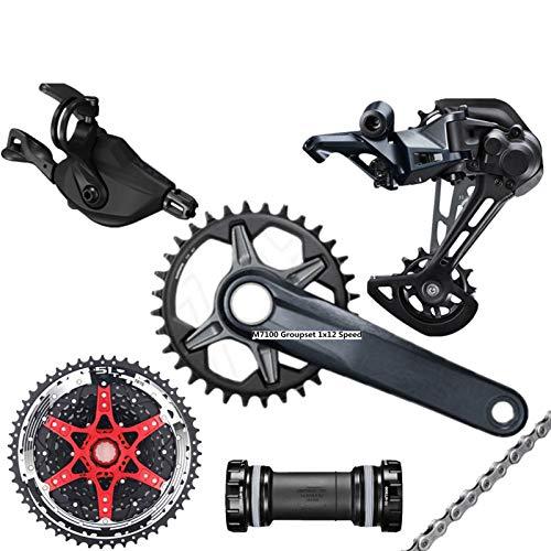 EWDF SLX M7100 GROUPSET 32T 34T 36T 170 175mm Crankset Mountain Bike Groupset 1x12-Speed CSMZ90 M7100 Trasero Desviador para shi-ma-no (Color : 32T 175MM 51T Black)