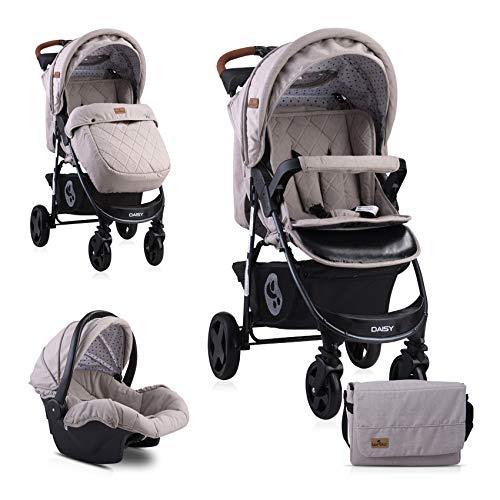 Lorelli Poussette Daisy 2 en 1, siège auto bébé, siège sport, couvre-pieds, coloris:beige/brun
