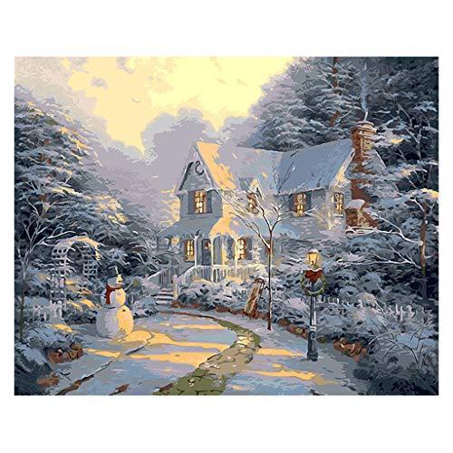 Kits de pintura por números, WEYCNCRIUF Canvas DIY Decoração de casa para adultos e crianças sem moldura 40,6 x 50,8 cm - O boneco de neve