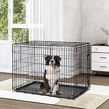 GT pro 30 Pouces (L) Double Portes Cage pour Chien en Métal Deux Portes Pliant Cage De Chenil Cage Facile À Assembler Cage pour Animaux en Maille pour Chiot Chats Lapins Chiens Chiens