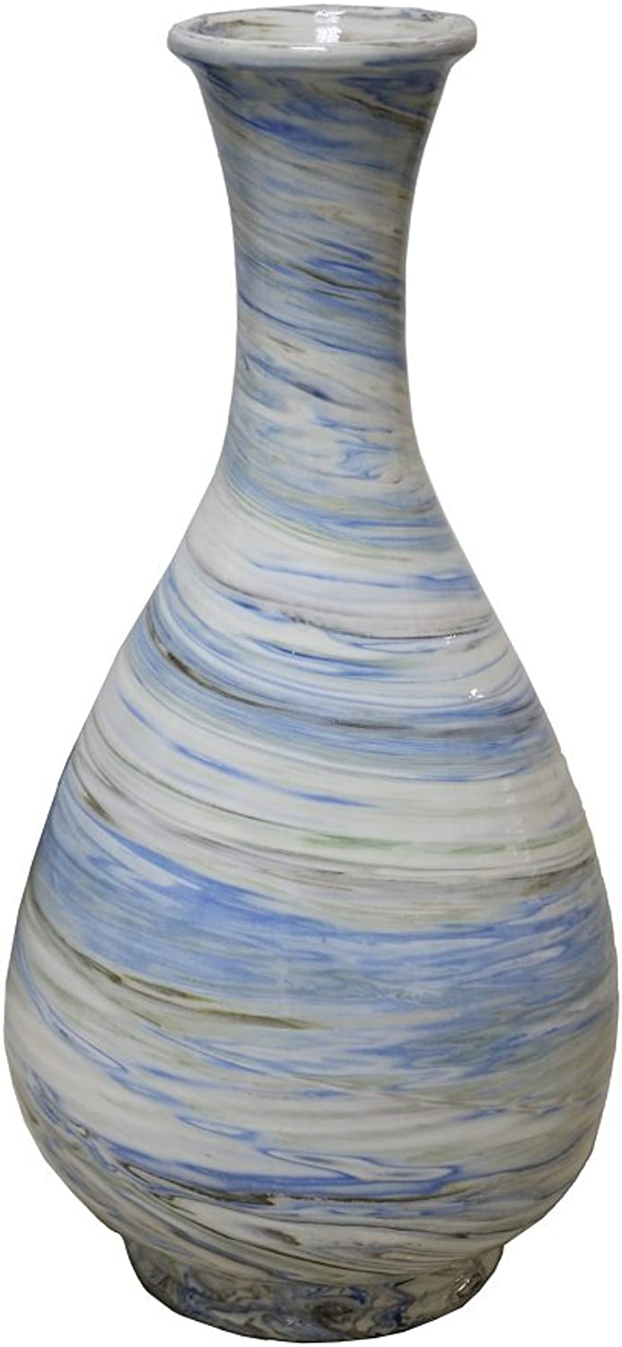 TIC Collection 18-469 Onice Swirl Vase, White Black bluee