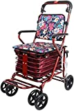 QIQIZHANG Walkers for Seniors Red Folding Four Wheeled Rollator,Grocery Cart Small Cart Old Cart Can Push Can Sit Elderly Folding Walker Shopping Scooter rollator Walker, Durable Mobility Aid