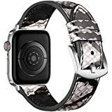 Muranne Compatible with Apple Watch Band SE 40mm 38mm for Women Men, Durable Genuine Leather Wristband Strap with Sweat Proof Rubber for iWatch Series 6 5 4 3 2 1, Snakeskin Print/Silver Adapter