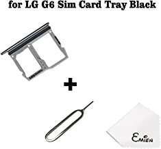 EMiEN SIM Card Tray Slot & Micro SD Memory Card Holder Container Replacement for LG G6 H870 H871 H872 LS993 VS998 (Black)