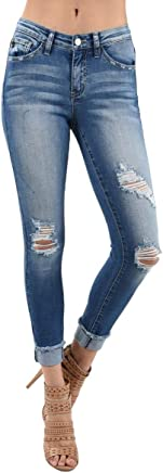 KanCan Jeans Sharon-Soto Mid-Rise Distressed Cuffed Ankle Skinny Jeans KC5030M