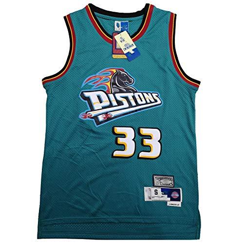 TYUIY Chaleco de Baloncesto Retro, Adecuado para Pistons 33# Hill Jersey, Uniforme de Baloncesto para Hombres, Malla de poliéster Jersey de Secado rápido, Uniforme de ent 2XL