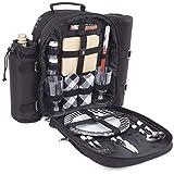 Plush Picnic - Picnic Backpack for 2/Picnic Basket for 2/Picnic Bag for 2/Picnic Set for 2 with Cooler Compartment, Detachable Bottle/Wine Holder, Fleece Blanket, Plates and Cutlery Set