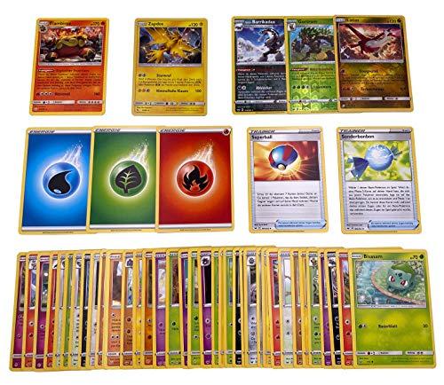 Pokemon - 50 Verschiedene deutsche Karten inkl. Holo, Reverse Holos & Rare Karte + GECO® Spielmatte