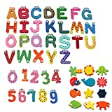 Simuer Wooden Cartoon Fridge Magnet Novelty Animals Numbers Letters Alphabet Wooden Fridge Magnet Sticker Cute Funny Refrigerator Sticker for Learning & Education 48Pcs/set