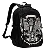 IUBBKI Bolsa para computadora mochila USB Biker Logo, Coat of Arms Style Eps8 Textured Office & School Supplies with USB Data Cable and Music Jack Laptop Bags Computer Notebook 18.1X13.3 inch