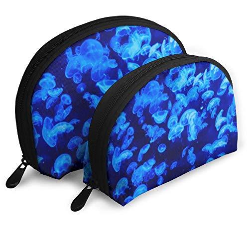 Bolsa de belleza cosmética, bolsa de maquillaje de mano de medusas azul para mujeres y niñas