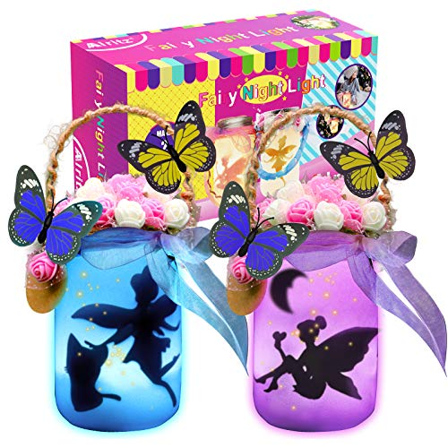 Fairy Lantern Craft Kits, Alritz Gift for Girls Ages 4-12 DIY Mason Jar Kit with Remote - 12 Color Night Light for Kids for Indoor Outdoor Garden DIY Deco Art Project