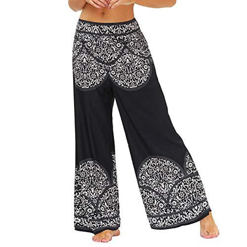 TUDUZ Pantalones Harén Aladdin Mujer Holgado Boho Hippy Pantalones Deportivos Mono Casual(C Negro,L)