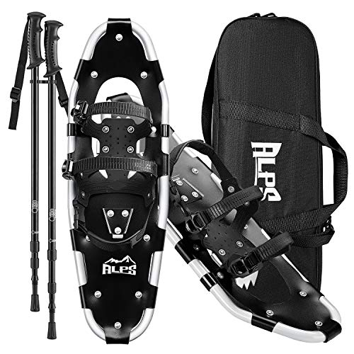 ALPS 22 Inches Snowshoes for Men, Women, Kids with Trekking Snow Shoes Poles and Carrying Tote Bag