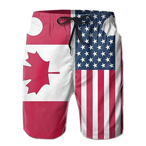 yting American Canada Flag Herren Summer Beach Schnelltrocknende Badehose Boardshorts Cargohose, Größe M.